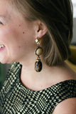 leopard print long dangly vintage statement earrings handmade in caledon and toronto