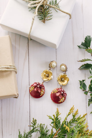burgundy and gold holiday statement earrings long dangly