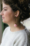 pink drop long dangly vintage earrings handmade in toronto