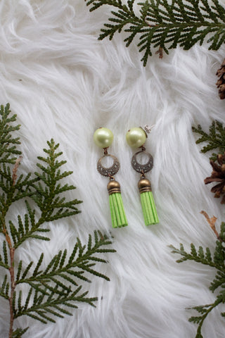 winter is calling green tassel drop earrings