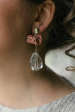 large crystal drop and pink earrings handmade in toronto
