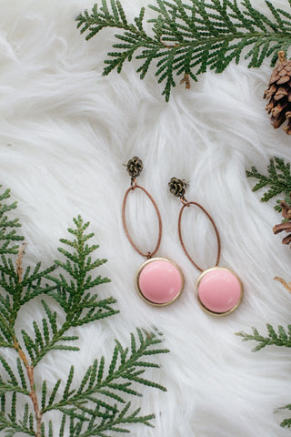 pink drop in sky vintage statement earrings