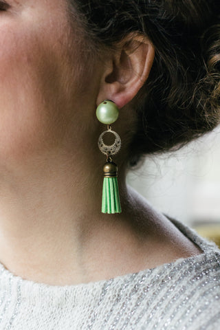 green tassel with pearl vintage inspired statement earrings handmade in toronto