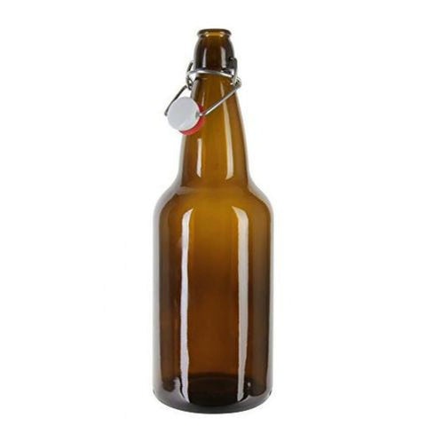 flip top amber bottle