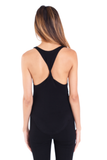 Heather Twist Back Tank - Black