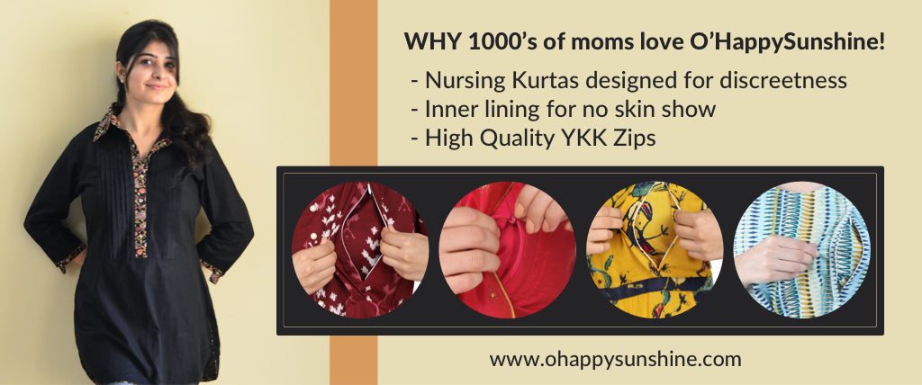 1000s of Indian mothers love O'Happy Sunshine's discreet nursing kurtas