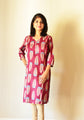 Maroon printed - Nursing kurti with concealed zippers