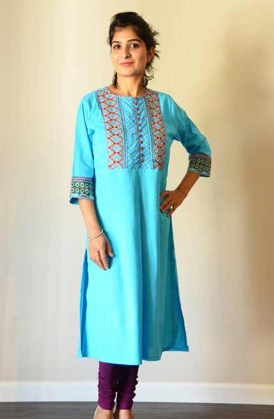 Turquoise blue - Nursing kurta with concealed zippers