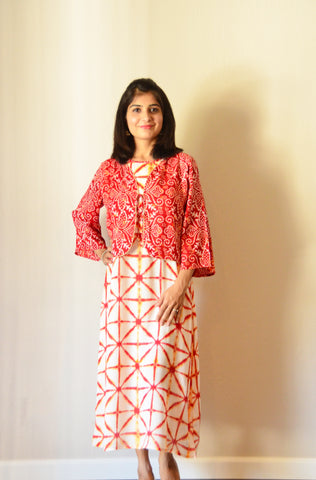 Fabulous Red - kurta/dress with attached jacket