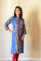 Peacock blue - printed Nursing kurta with concealed zippers