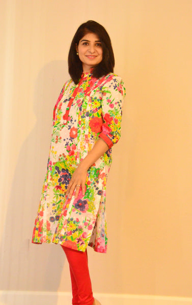 Spring bloom - nursing Kurta with concealed zippers