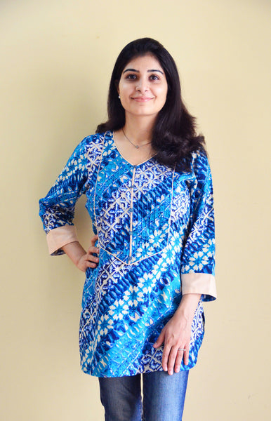 Short Length printed blue feeding kurti for new moms