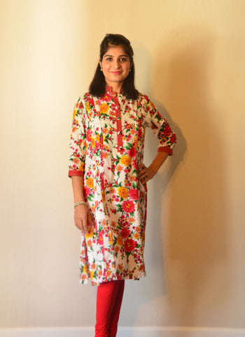 Floral white nursing Kurta with concealed zippers