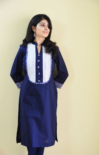 Elegant in blue - nursing kurti for feeding mothers