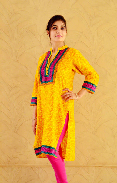 Yellow nursing kurta with concealed zippers and trendy border