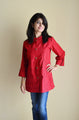 Strawberry Red Nursing Top with concealed zippers