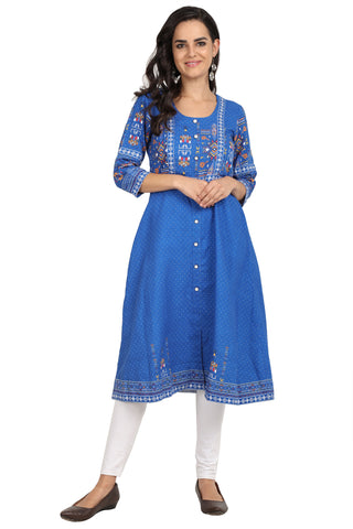 Sapphire blue - nursing kurta with concealed zippers