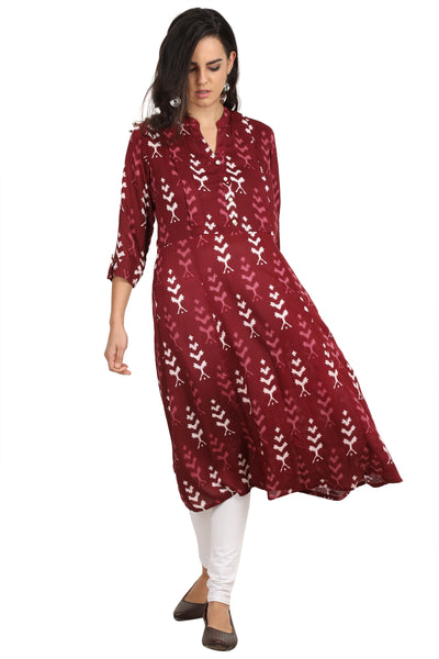 Burgundy - Nursing kurti with concealed zippers