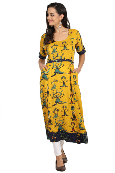 Hello Yellow - nursing kurta with Concealed Zippers