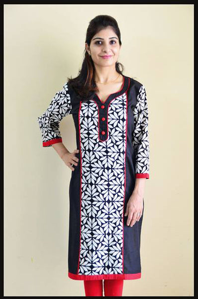 White Petals Nursing Kurta with concealed zippers