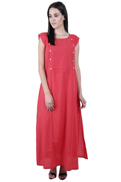 Brick Red - nursing gown with Concealed Zippers