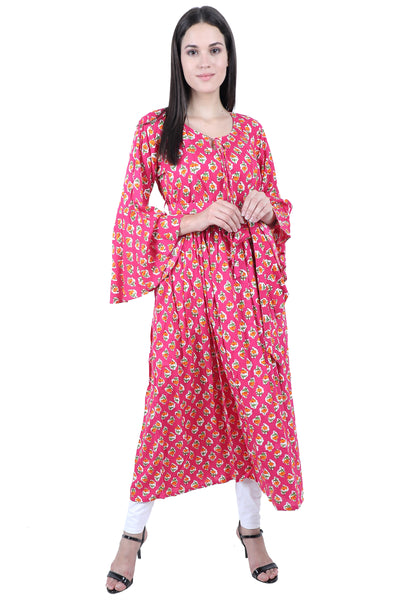 Hawaiian Pink - nursing kurta with Concealed Zippers