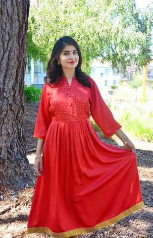 b2792ef50b2 Red Anarkali kurta with pretty sequin and a golden border! 12 reviews. Rs.  1