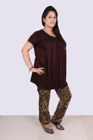 9f765acdc5 Brown top with leopard print lower - Nursing Night suit