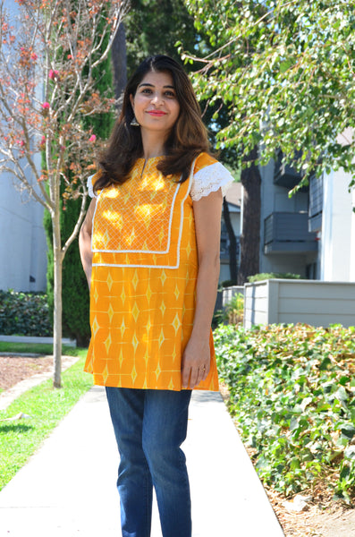 Sunflower Yellow - nursing kurta with Concealed Zippers