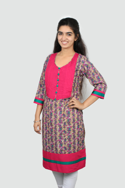 Deep Magenta kurta with and Concealed Zippers