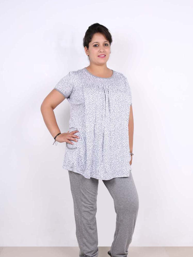 13822add7ee9a Grey and white Leopard print - Nursing Night suit