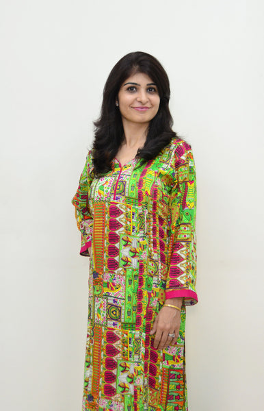 Multicoloured Nursing Kurta with Concealed Zippers