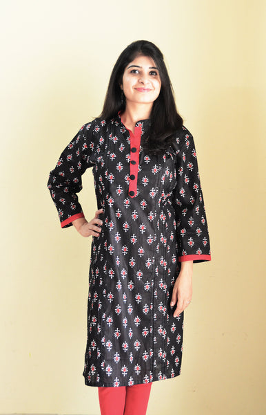 Feeding kurta with Black & Red print
