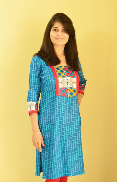 Beautiful Blue Nursing and Feeding Kurta