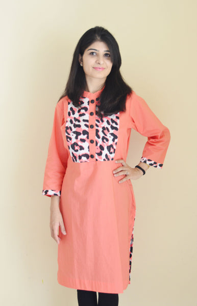 Coral maternity and feeding kurta with concealed zipper for breastfeeding discreetly