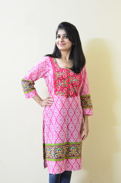 Pretty Pink Nursing Kurta with Concealed Zippers