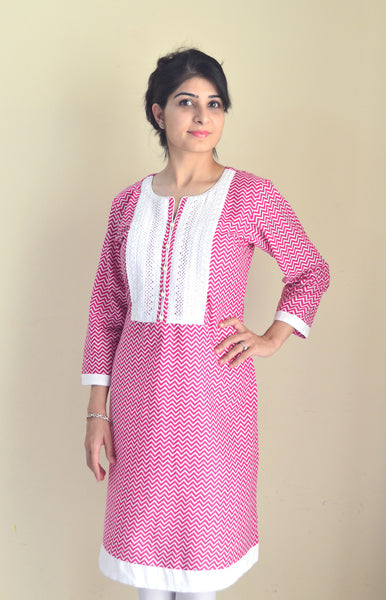 Pink and White Cotton Nursing Kurta with pretty lace and concealed zippers