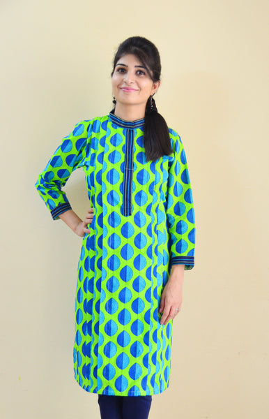 Blue Petals Printed Nursing Kurta with Concealed Zippers