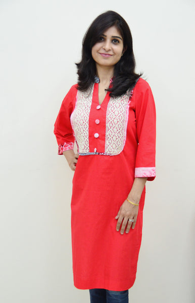 Bright Red Cotton Nursing Kurta with pretty lace and concealed zippers