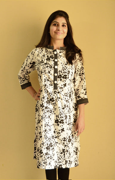 Black and White Nursing Kurta with concealed zipper