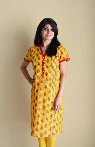 Vibrant Yellow Nursing Kurta - short sleeves