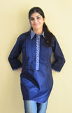 Collared blue Nursing and feeding kurti with concealed zipper