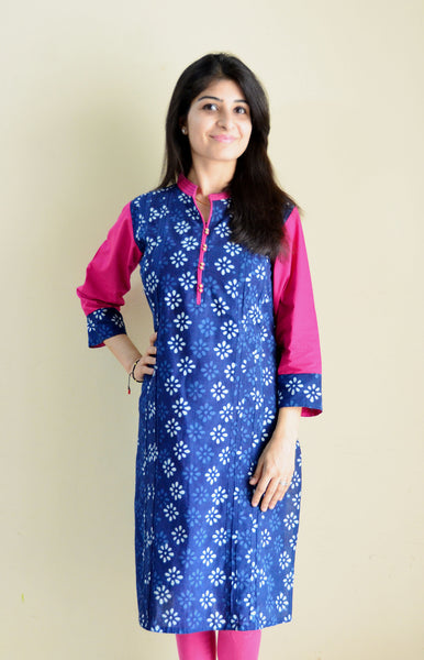Forever blue - nursing kurta with Concealed Zippers