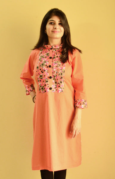 Coral nursing kurta with concealed zipper for breastfeeding discreetly