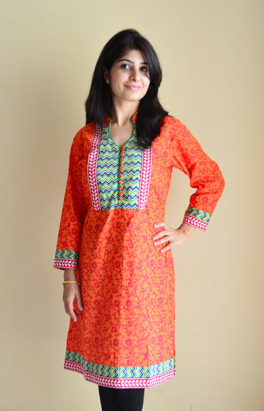 Tangy orange kurta with Trendy Border and Concealed Zippers