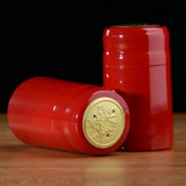 Holiday Red PVC Shrink Capsules, 100 count
