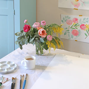 Kitchen studio - painting a rose garden
