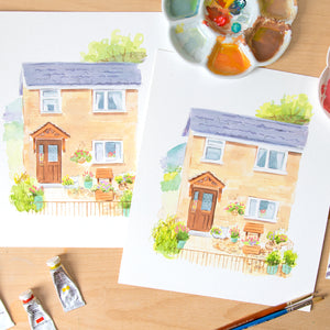 Painting a house portrait using Google images