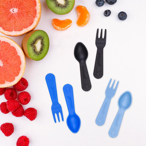 Mini Fork and Spoon Set (set of 6) - Blue