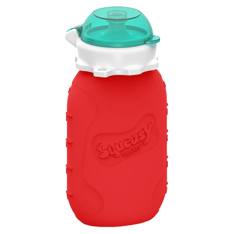 Silicone Squeasy Snacker Food & Drink Pouch - Medium 180ml Red